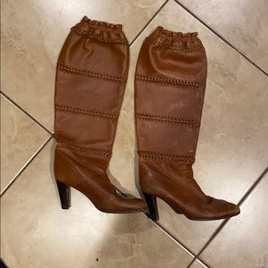 Coach knee high leather heeled boots brown tan